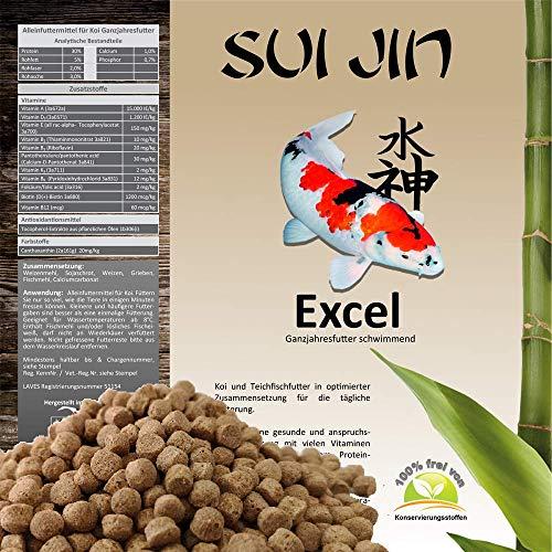 SUI JIN Teichprodukte Koifutter 6mm Excel Koi Futter 15kg Fischfutter Sommer Frühjahr Herbst