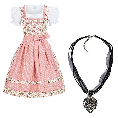 Gaudi-Leathers Dirndl Set 3tlg. Trachtenkleid Momo m. Schürze Dots rosa + Halskette 36