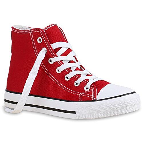 stiefelparadies Damen Schuhe High Top Sneakers Sportschuhe Stoffschuhe Freizeit Schuhe 135084 Rot Avelar 38 Flandell
