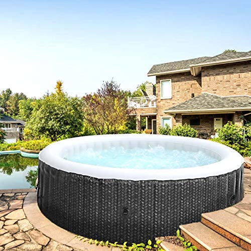 Whirlpool aufblasbar MSpa OTTOMAN 6 Personen Ø204x70cm In-Outdoor Pool 138 Massagedüsen Timer Heizung Aufblasfunktion TÜV Spa Wellness