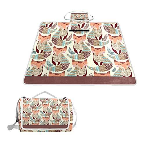 LZXO Jumbo Picknickdecke faltbar Tribal Tier Fuchs Blatt groß 145 x 150 cm wasserdichte handliche Matte Tragetasche Kompakte Outdoor Matte mit Griff