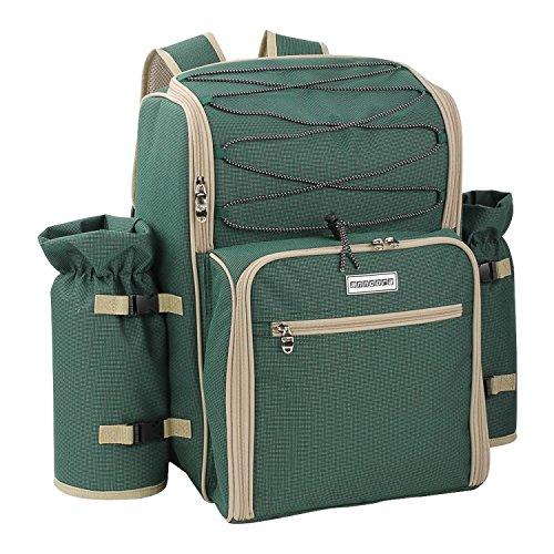 anndora Picknickrucksack 4 Personen mit integrierter Kühltasche grün inkl. 29-teiliges Zubehör