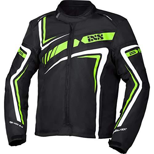 IXS Motorradjacke mit Protektoren Motorrad Jacke RS-400-ST 2.0 Sport Textiljacke schwarz/grün/weiß XXL, Herren, Sportler, Ganzjährig, Polyester