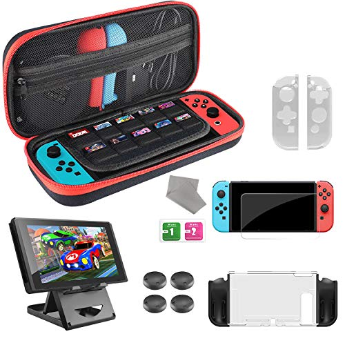 Diswoe Tasche für Nintendo Switch, 6-in-1 Switch Zubehör Kit Mit Tragetasche, Schale Schutzhülle Tasche, Dock Halterung Verstellbare, Displayschutz aus Gehärtetem Glas und 4 Daumen Griffkappen