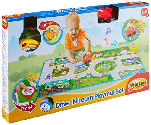 WinFun 001288-NL Spielteppich Fahren und Lernen, Meine Stadt interaktiver Teppich mit Auto, Musikdecke mit 25 Lieder, Geräusche, multifarbig