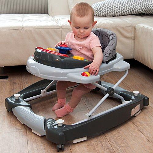 2IN1 Lauflernhilfe mit Schaukelfunktion + Spielcenter (12 Melodien+Licht) Gehfrei Gehhilfe Baby Walker Babyschaukel (Schwarz/Grau)