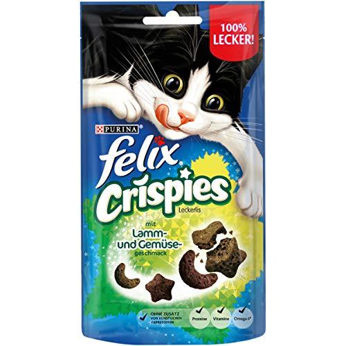 FELIX Crispies Katzensnack, Knusper-Leckerlie mit Lamm- und Gemüsegeschmack, 8er Pack (8 x 45g)