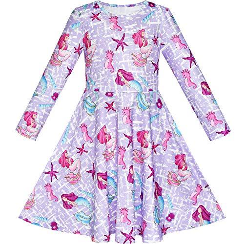 Sunboree Mädchen Kleid Baumwolle Meerjungfrau Seestern Muschel Langarm Freizeitkleidung Blusenkleid Gr. 134