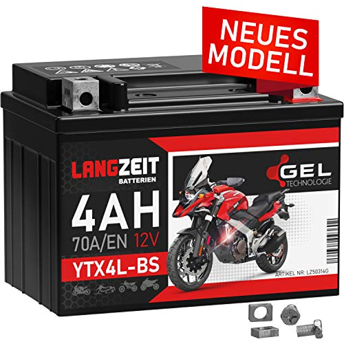 LANGZEIT YTX4L-BS GEL Roller Batterie 12V 4Ah 70A/EN GEL Batterie 12V Motorradbatterie doppelte Lebensdauer entspricht 50314 CTX4L-BS vorgeladen auslaufsicher wartungsfrei