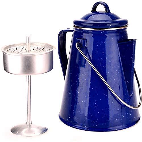 OZrail Emaille Kaffeekanne. 8 Tassen. 2L - Kann als Teekanne oder Wasserkocher verwendet Werden - Hochwertiger Stahl 0.4mm stark, Camping, Picnic, Outdoors