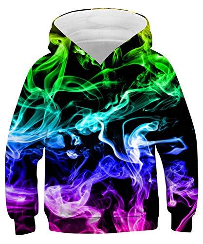 ALISISTER Kinder Jungen Mädchen Hoodie Kinder 3D Bunt Rauchen Muster Kapuzenpullover Pullover Sweatshirt Herbst Winter Kapuzenpullis Mit Taschen S