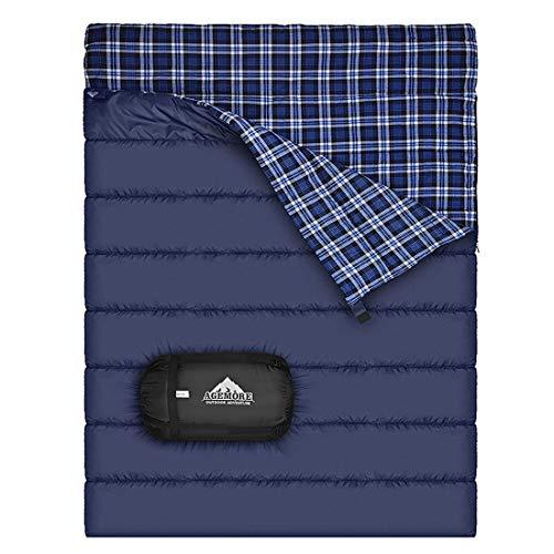 Baumwollflanell-Doppelschlafsack für Camping, Wandern oder Wandern. Queen Size 2 Person wasserdichte Schlafsack für Erwachsene oder Jugendliche. LKW, Zelt oder Schlafsack, Leichtgewicht (Blau/Blau)