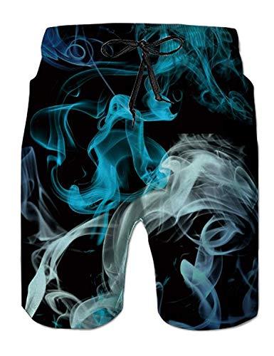 Fanient Herren Badehose Sommer Cool Quick Dry Board Shorts Bunte Rauch Grafik Badeanzug mit 2 Seitentaschen Mesh Futter XXXL