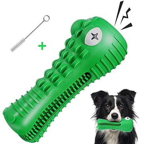 G.C Hundespielzeug unzerstörbares quietschendes Kauspielzeug Hunde Krokodil Natürliches Gummi Zahnbürste für Mittelgroße Große Hündchen