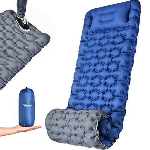 OCOOKO Isomatte Camping schlafmatte mit Fußpresse Pumpe - luftmatratze Camping isomatte aufblasbar selbstaufblasbare isomatte für Wandern Reisen Backpacking Strand