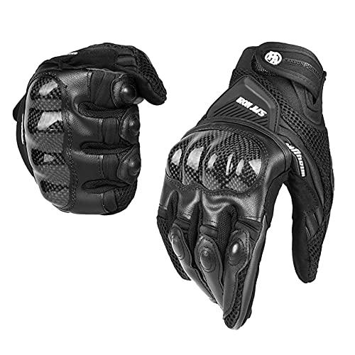 Motorradhandschuhe Atmungsaktive Motorradhandschuhe Leder Vollfinger Knöchelschutzpolster Touchscreen