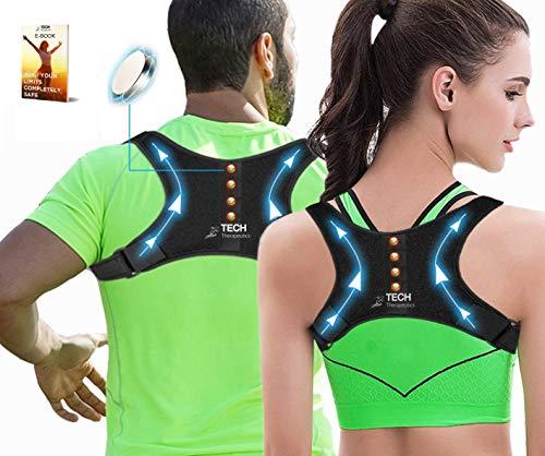 TECH THERAPEUTICS Design Schulter- Haltungskorrektur Rücken mit Magneten| Rücken Geradehalter für Männer und Frauen | E-Book inklusive | Haltungskorrektur Rücken Gebrauchsmuster®