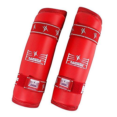 Taekwondo Karate Sanda Box Boxen Kampfsport Training Wettkampf Schutzausrüstung Schutz Beine Unterarm Schützer Schienbeinschützer rot XL