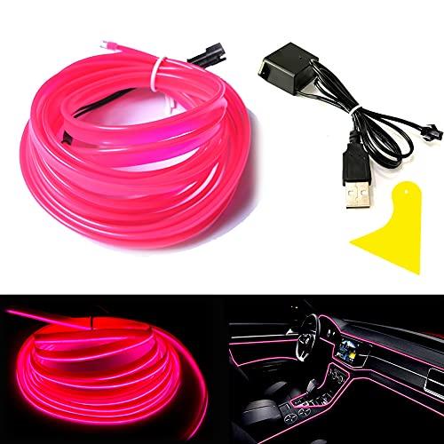 Balabaxer USB EL Wire Pink,3M/9.8FT Flexible Neonlichtröhre DC 5V Neonröhre Lichter Auto Innenverkleidung Lichtleiste für Innenverkleidung Gap Dekorative…
