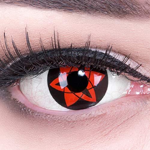 Meralens 1 Paar Farbige Anime Sharingan Kontaktlinsen Sasuke Ewiges Mangekyou rot schwarz perfekt zu Manga Hereos of Cosplay Halloween mit Kontaktlinsenbehälter rote 12 Monatslinsen ohne Stärke