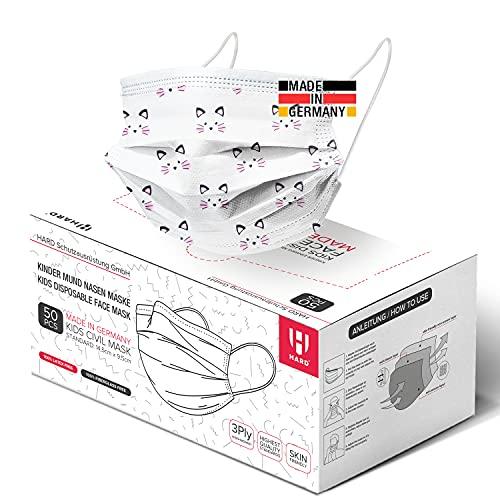 HARD 50x Kinder Medizinischer Mundschutz, Made in Germany, TYP IIR OP-Maske, CE zertifiziert EN14683, BFE 3-lagig 99,78% schützende Mund-Nasen-Bedeckung, Einweg-Gesichtsmasken - Kätzchen Weiß