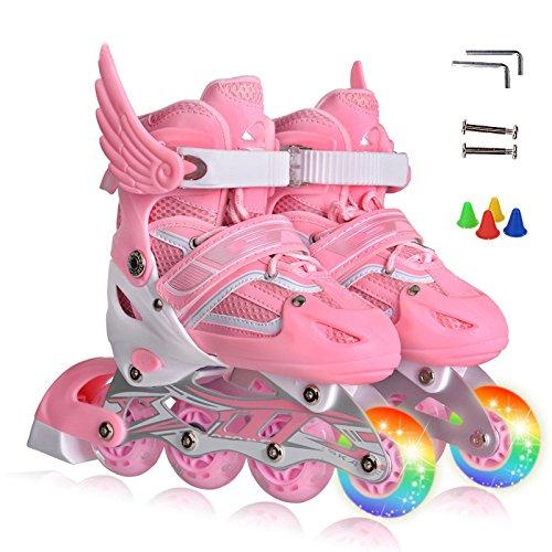 ZCRFY Kinder Inliner Skates Für Anfänger Verstellbar Set Rollschuhe Mädchen Jungen Kinderinliner Kleinkinder Inlineskates - Größenverstellbar über,Pink-M