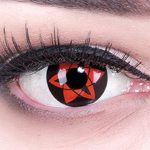 Funnylens 1 Paar Farbige Anime Sharingan Kontaktlinsen Sasukes Ewiges Mangekyou in rot schwarz perfekt zu Manga, Cosplay, Halloween mit gratis Kontaktlinsenbehälter rote 12 Monatslinsen ohne Stärke