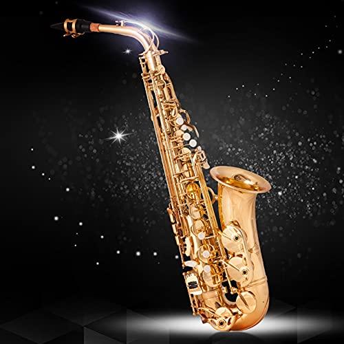 BOTOWI Saxophon Messing lackiert Gold Blasinstrument, Altsaxophon Es Eb, Professionelles Saxophon Goldlack-Finish mit Muschelklappen, Premium Messing Sax Komplettset für Anfänger Studenten Profi