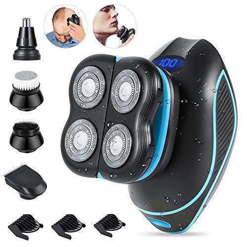 Glatzen Rasierer Herren, 4 in 1 Elektrischer Kopf Rasierer für Männer, TwinShaver Rasierer Präzisionstrimmer Bartschneider mit USB Aufladbare, LCD Rotationsrasierer