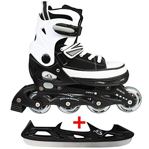 Cox Swain Sneak Kinder Inline Skates & Kinder Schlittschuh 2 in 1 - größenverstellbar ABEC5, Colour: Black, Size: L (40-43)