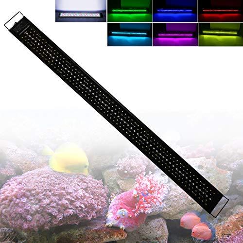 LED Aquarium Beleuchtung 60W Fish Tank Aufsetzleuchte Mit Timer und Erweiterbarer Halterung Aquarium Lampe für 120-150cm, Wasserdicht IP68 Vollspektrum LED Automatisiertes LED-Licht für Fisch Koralle