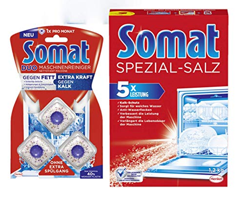Somat Spülmaschinen Reinigungs-SET Spezialsalz 1,2Kg + Duo Maschinenreiniger 3 Tabs