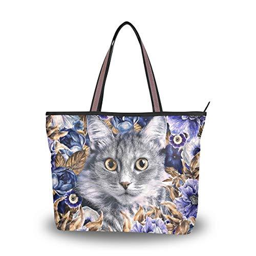 Große Schultertasche Katze und lila Blume Handtasche mit Reißverschluss Strandtaschen, Mehrfarbig - multi - Größe: Medium