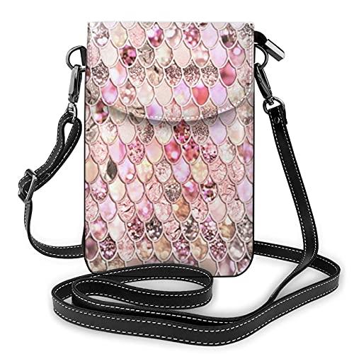 Risating Schultertasche / Geldbörse – Rosa / Grau mit Glitzer-Schuppen, Crossbody-Tasche für Handy mit verstellbarem Riemen, PU-Leder für Frauen und Mädchen