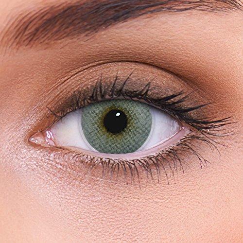 LENZOTICA Sehr stark natürlich deckende graue Kontaktlinsen farbig ATLANTIS GREY + Behälter I 1 Paar (2 Stück) I DIA 14.00 I mit Stärke I -3.00 Dioptrien