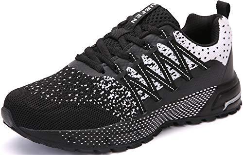 SOLLOMENSI Laufschuhe Herren Sportschuhe Straßenlaufschuhe Sneaker Joggingschuhe Turnschuhe Walkingschuhe Schuhe 43 EU H Schwarz Weiß