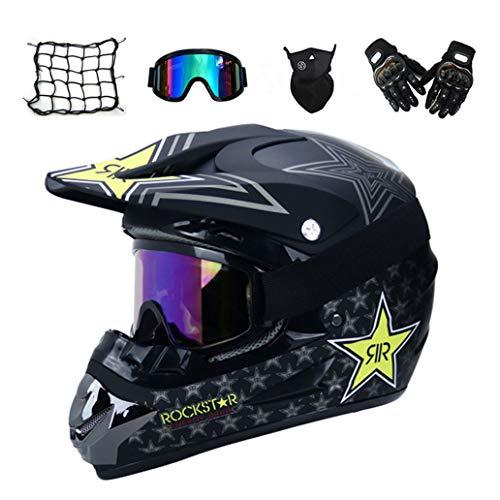 VOMI Motorrad Crosshelm mit Brille (5 Stück) - Schwarz/Rockstar - Adult Motocross Helm Erwachsener Off Road Fullface MTB Helm Mopedhelm Motorradhelm für Damen Herren Sicherheit Schutz,M