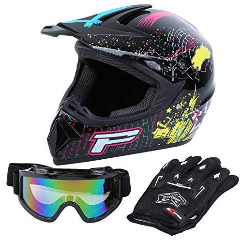 Samger DOT Erwachsene Off Road Helm Motocross Helm Dirt Bike ATV Motorrad Helm Handschuhe Brille (Schwarz, XL)