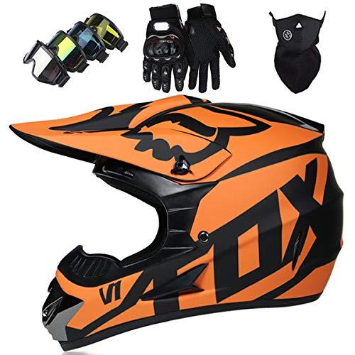 Motorradhelm - JMY-01 Motocross Helm Set - Dirt Bike Fullface Offroad Motorrad Helm mit Schutzbrille Geeignet für Kinder von 5 Bis 14 Jahren mit Fox Design - Matte Schwarz Orange - S/M/L/XL,S