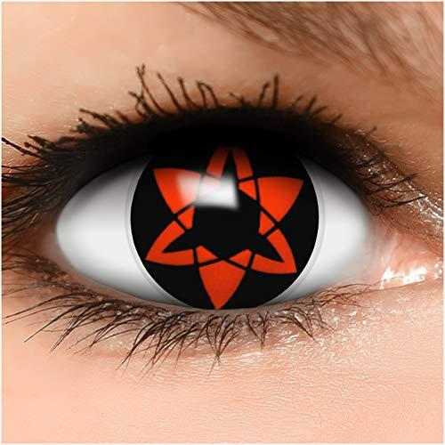 Sharingan Kontaktlinsen Ewiges Mangekyou in rot inkl. Behälter - Top Linsenfinder Markenqualität, 1Paar (2 Stück)