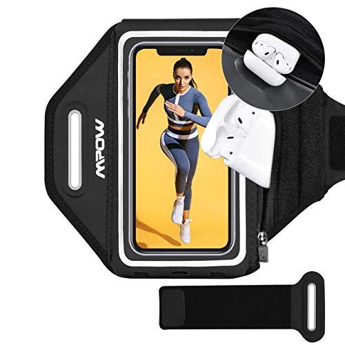 Mpow Joggen Sportarmband Handy für iPhone 12 Pro bis zu 6,2 Zoll Vollbildgröße, Sicheres Verstellbares Armband mit Erhöhtem Speicherplatz für TWS Kopfhörer, beim Laufen, Joggen, Wandern