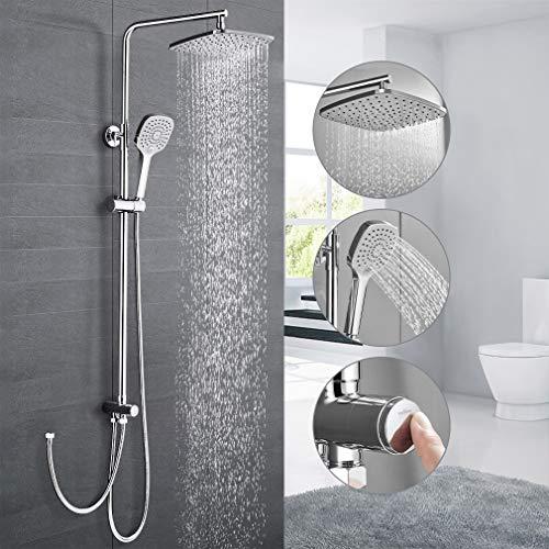 Duschsystem ohne Armatur, WOOHSE Duscharmatur Regendusche mit Wandhalterung, Handbrause mit 3 Strahlen, Verstellbarer Duschstange, Dusche Duschsäule Set Duschset für Badezimmer