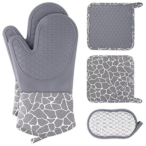 Topflappen und Ofenhandschuhe Silikon Set,Wanderlife Anti-rutsch Hitzebeständig Topflappen Handschuh Für Backen Kochen Grillen,1 Paar Lang Topfhandschuhe,2 Topflappen Silikon,1 Spülschwamm Grau