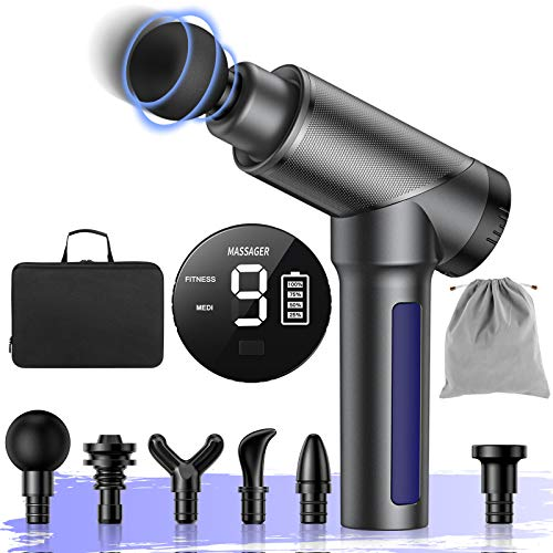 MILcea Massagepistole, Massagegerät Massage Gun mit 6 Tiefe Gewebe Massageköpfen und 9 Geschwindigkeit, Massagegerät Elektrisch für Nacken Schulter Rücken