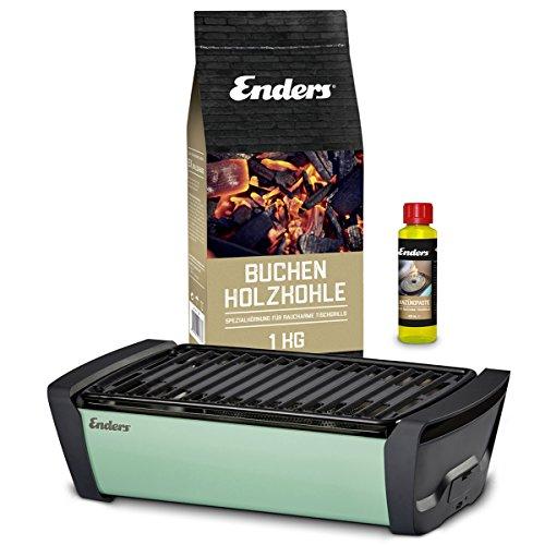 Enders Aurora Starterset Mint - Raucharmer Tisch Grill im Set mit Holzkohle und Anzündpaste - mobiler Holzkohle-Grill, rauchfrei, für Balkon, Picknick, Camping - Deutsche Marke
