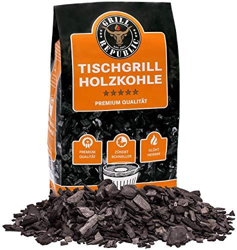 Grill Republic Tischgrill-Kohle 2,5kg / 100% reine Buchenholzkohle für rauchfreie Tischgrills wie den Lotusgrill