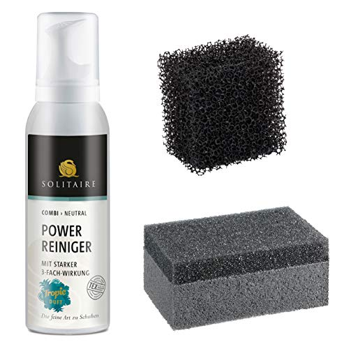 SOLITAIRE Power Reiniger Set – Reinigung, Pflege und Schutz für alle Materialien - bestehend aus einem Power Reiniger (125ml) mit Tropic-Duft, 1 x Rauleder-Meshschwamm und 1 x Reinigungsschwamm