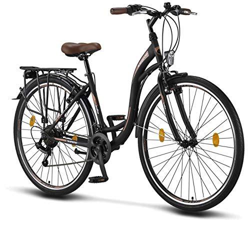 Licorne Bike Stella Premium City Bike in 28 Zoll - Fahrrad für Mädchen, Jungen, Herren und Damen - Shimano 21 Gang-Schaltung - Hollandfahrrad - Schwarz