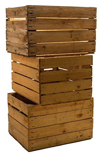 Kistenkolli Altes Land 3 Stück Massive Obstkisten Weinkisten Apfelkisten Holzkisten Shabby Vintage Maße ca 49 x 42 x 31cmxxxgebrauchtxxx