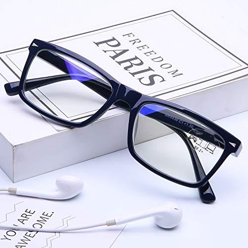 DOOVIC Blaulichtfilter Computer Lesebrille 3,0 - Blau/Rechteckig Rahmen Federscharnier Computerbrille mit Sehstärke für Herren/Damen